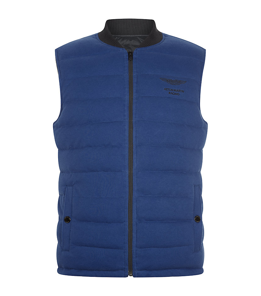 Hackett Reversible Aston Martin Quilted Gilet In Blue For