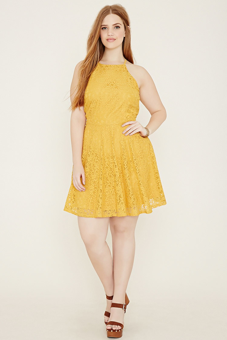 Forever 21 Yellow Plus Size Lace Cami Dress