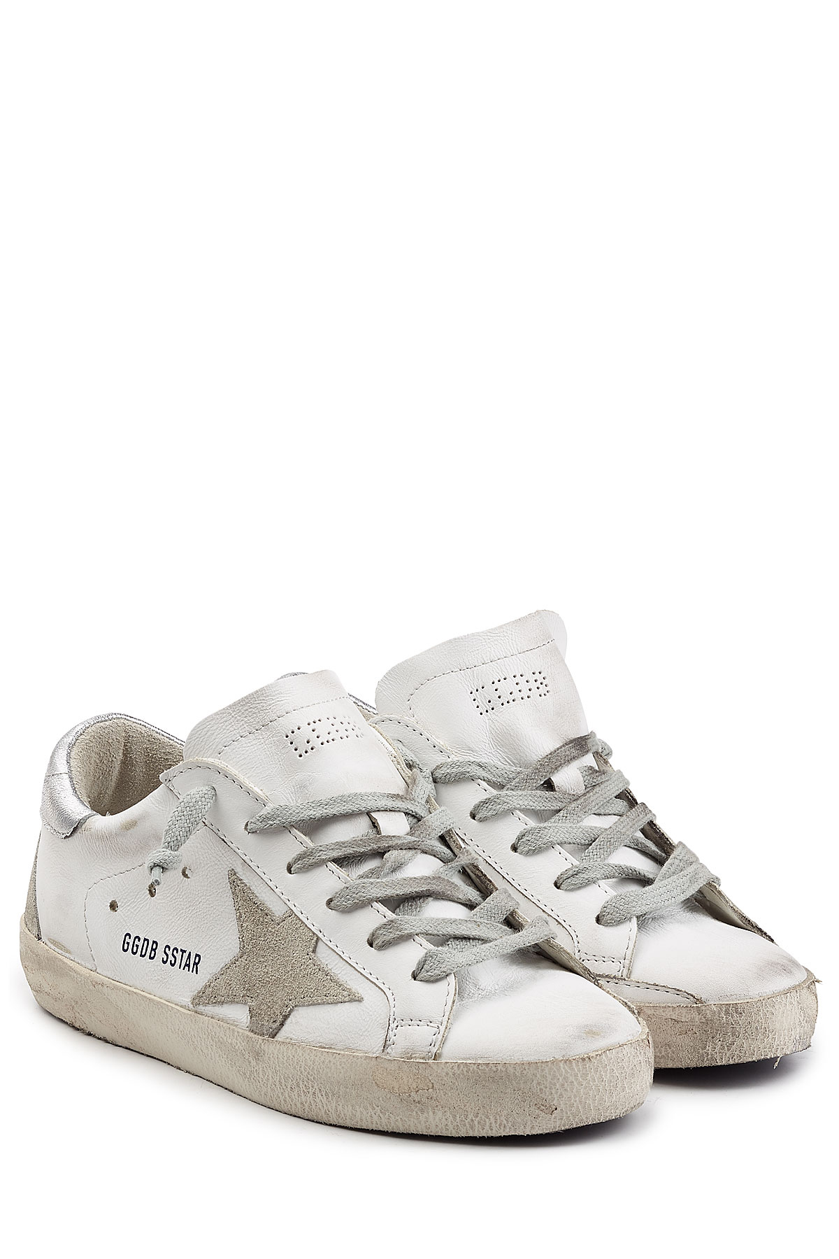 golden goose deluxe brand super star suede and leather sneakers white in white lyst. Black Bedroom Furniture Sets. Home Design Ideas