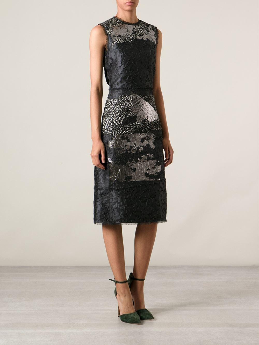 Bottega veneta embroidered lace midi dress in blue lyst