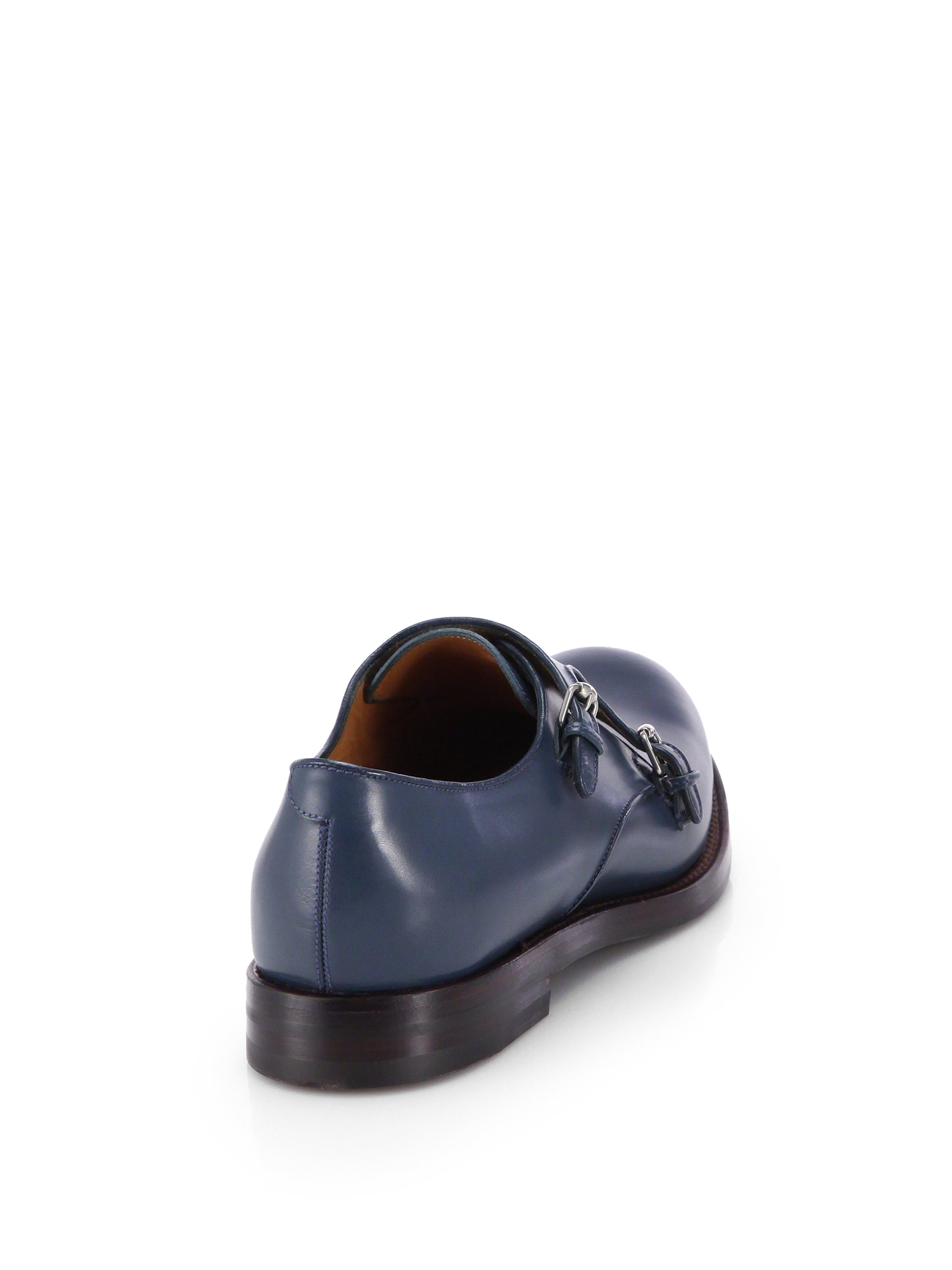 Gucci Double Monk Strap Leather Dress Shoes in Blue for ...