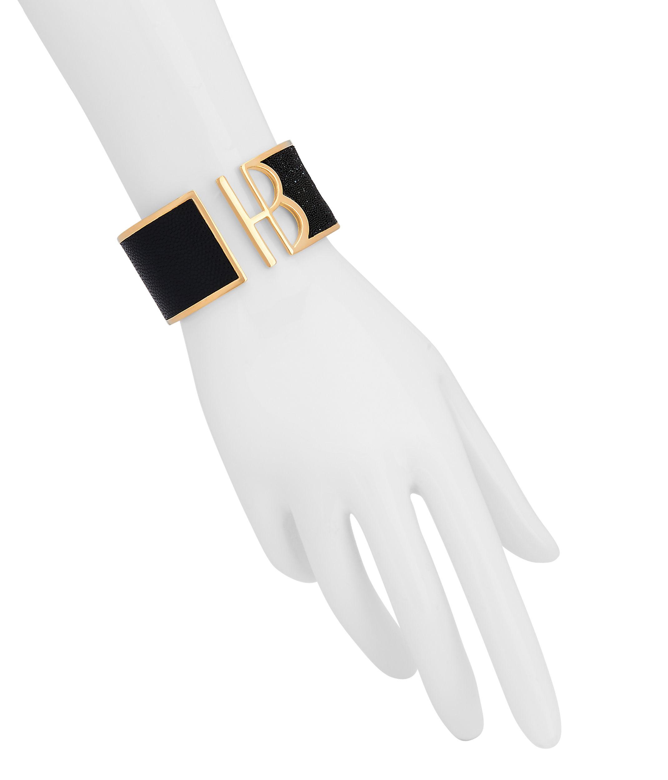 Lyst - Henri bendel Logo Metropolitan Cuff in Black