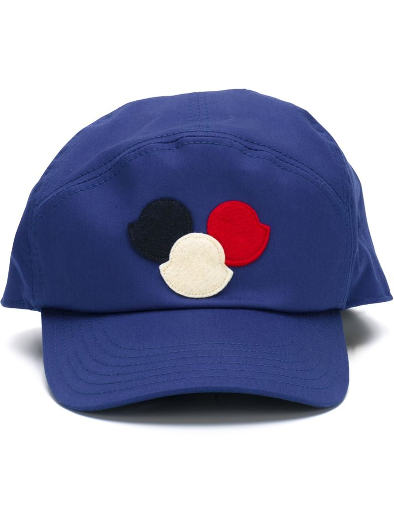a72a6eb8a26 Lyst - Moncler Logo Patch Cap in Blue for Men