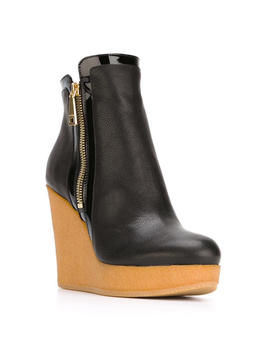 hogan wedge leather ankle boots in black lyst. Black Bedroom Furniture Sets. Home Design Ideas