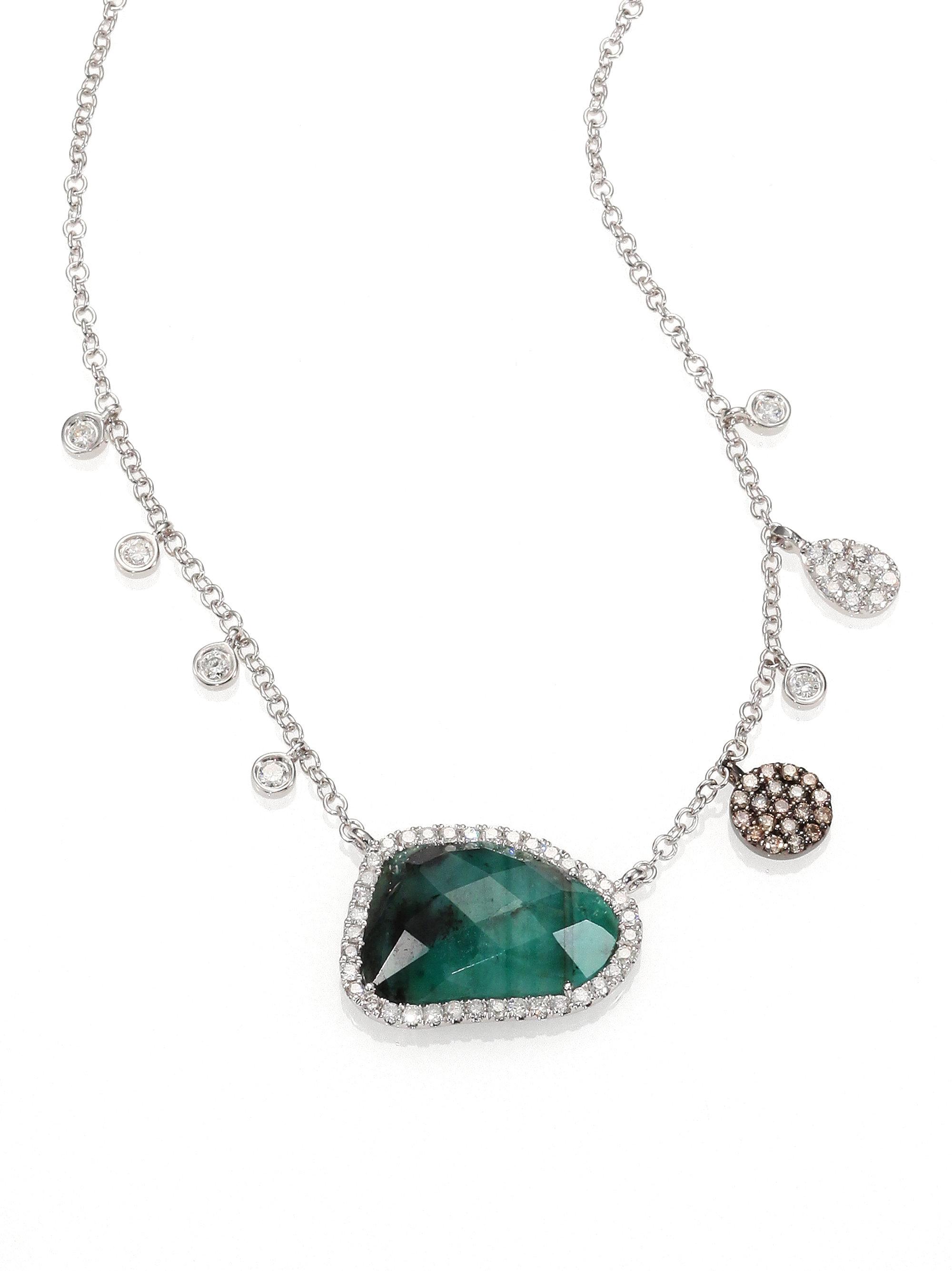 Meira t Emerald Diamond 14k White Gold Pendant Necklace in