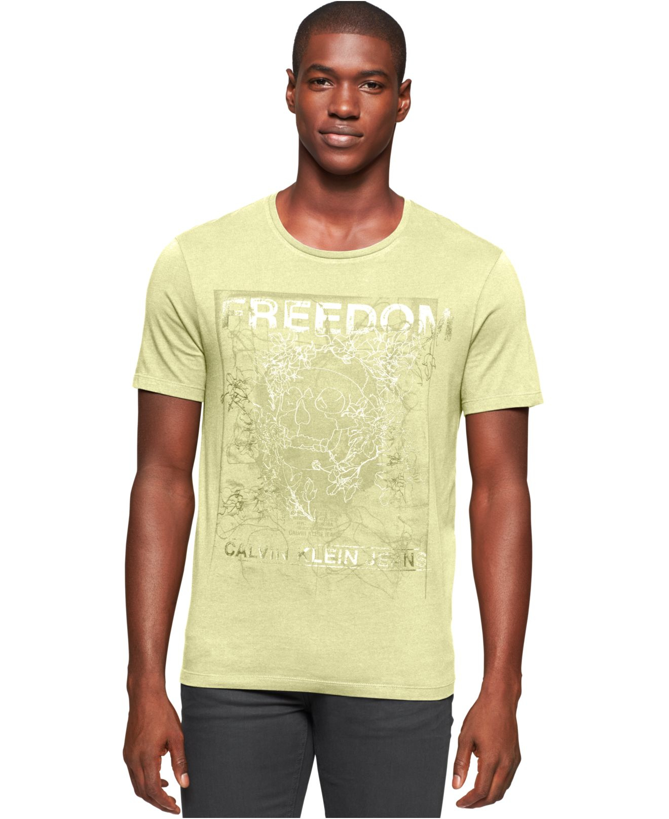 calvin klein jeans ck freedom graphic print logo t shirt. Black Bedroom Furniture Sets. Home Design Ideas