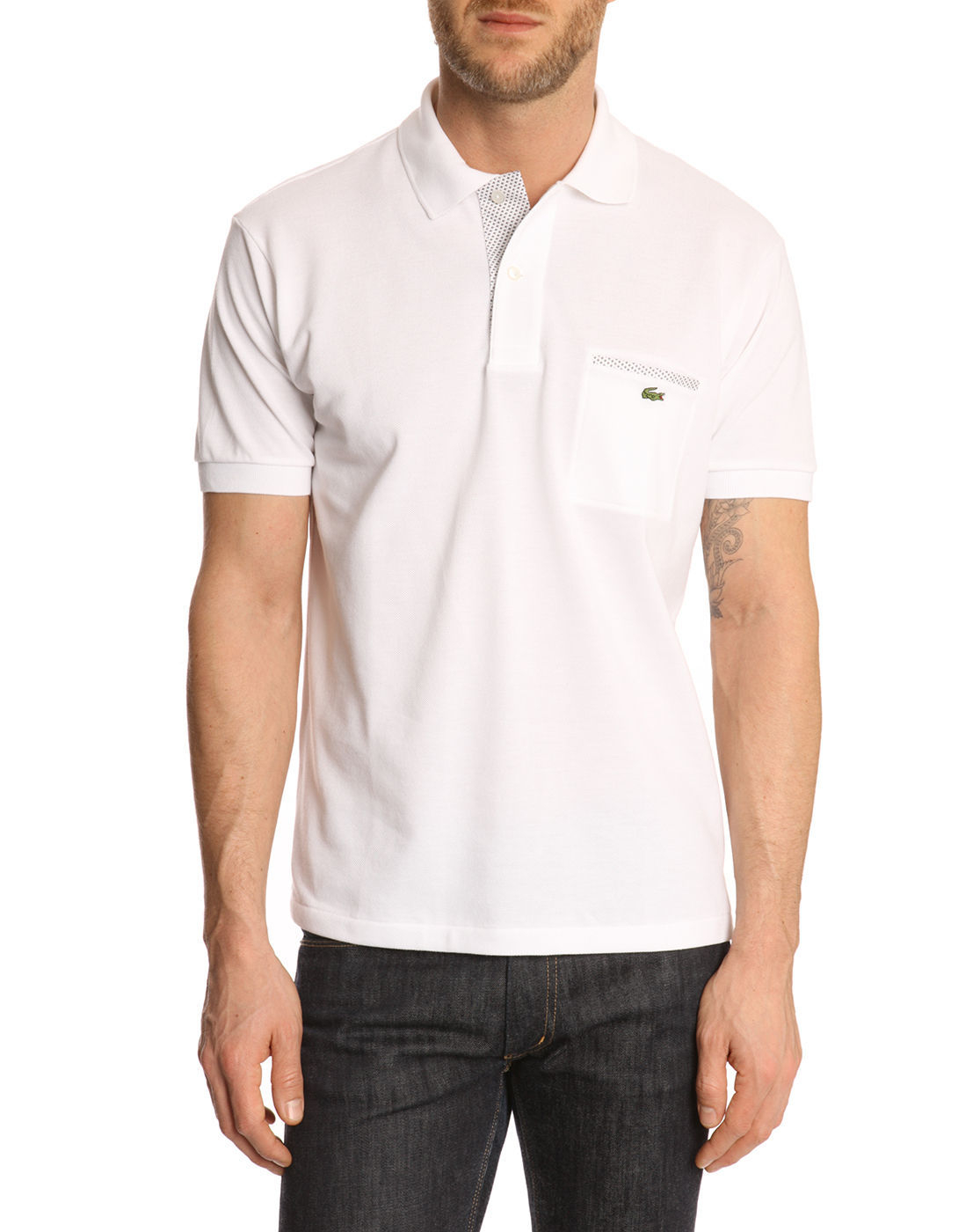 Lacoste white straight cut polo shirt in white for men lyst for Cut shirts for men