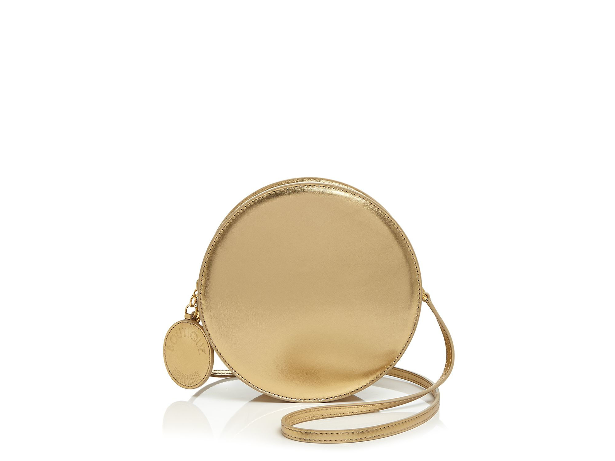 Boutique Moschino Leather Crossbody - Drum Bag in Gold (Metallic)