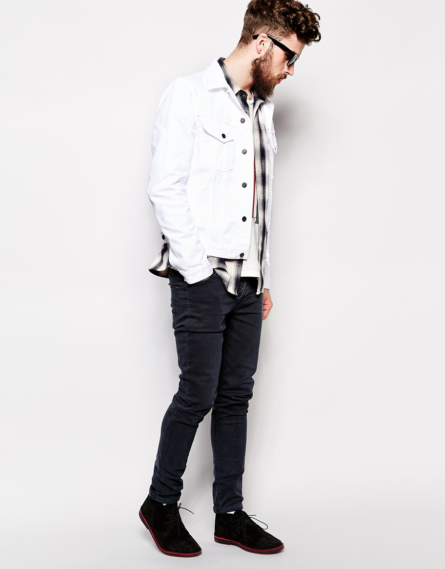 Nudie jeans Nudie Denim Jacket Perry White in White for Men | Lyst