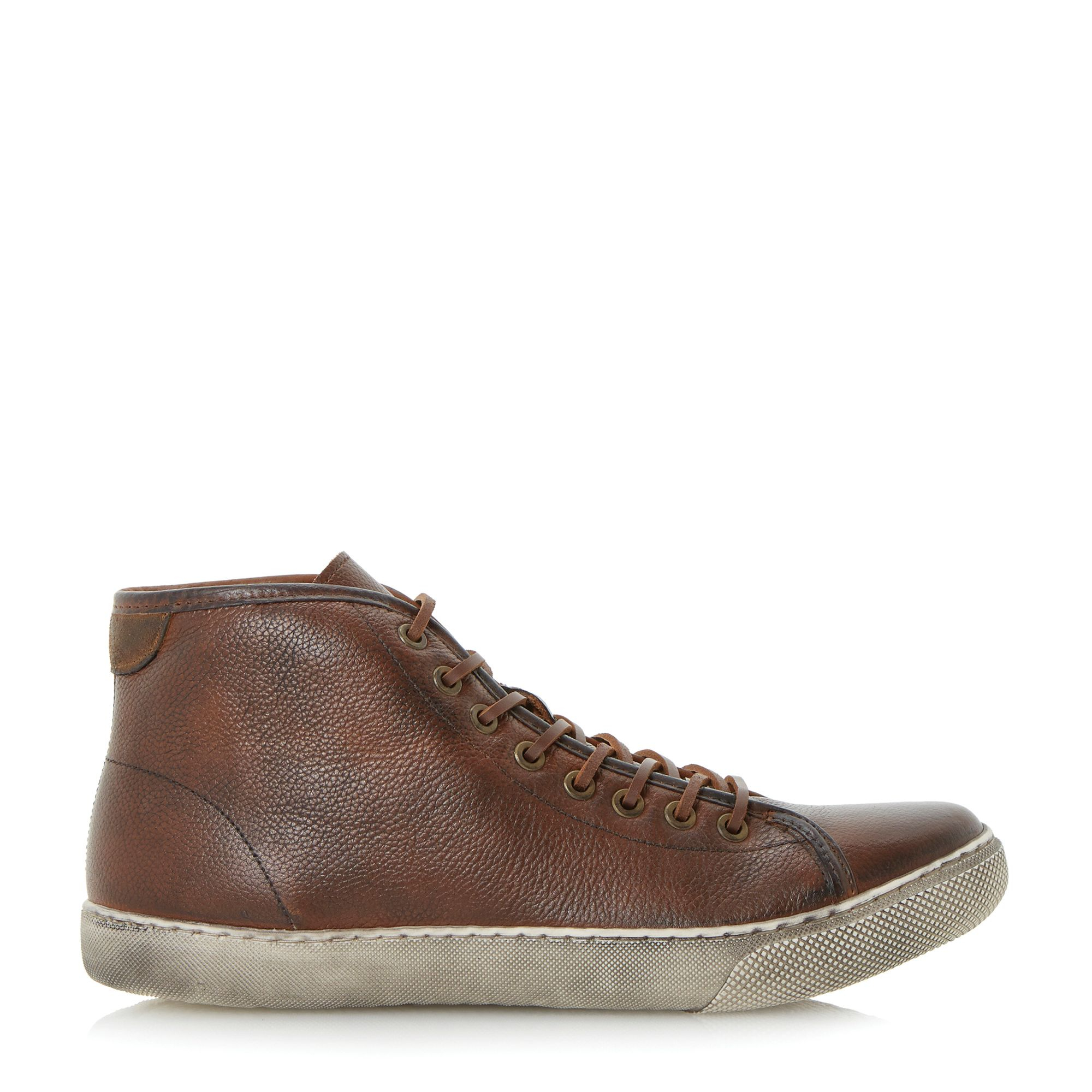 Dune Sweeper Lace Up Distressed Hi Top Trainers in Tan (Brown) for Men