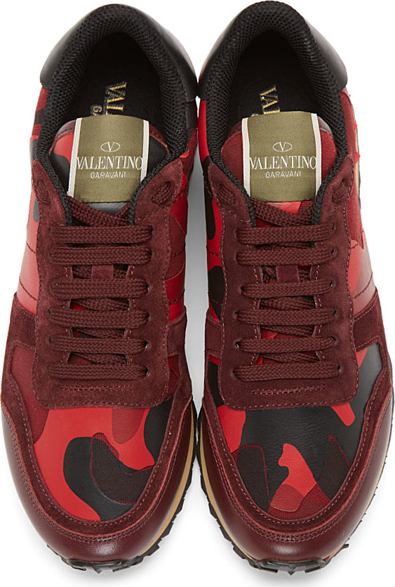 Valentino Red Camo Patchwork Sneakers In Red Lyst