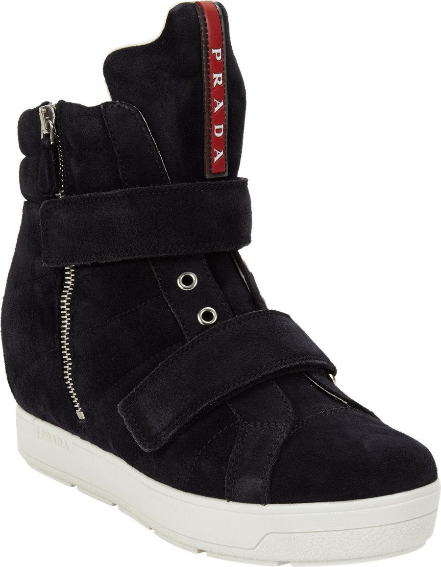 Prada Doublestrap Hidden Wedge Sneaker In Blue Lyst