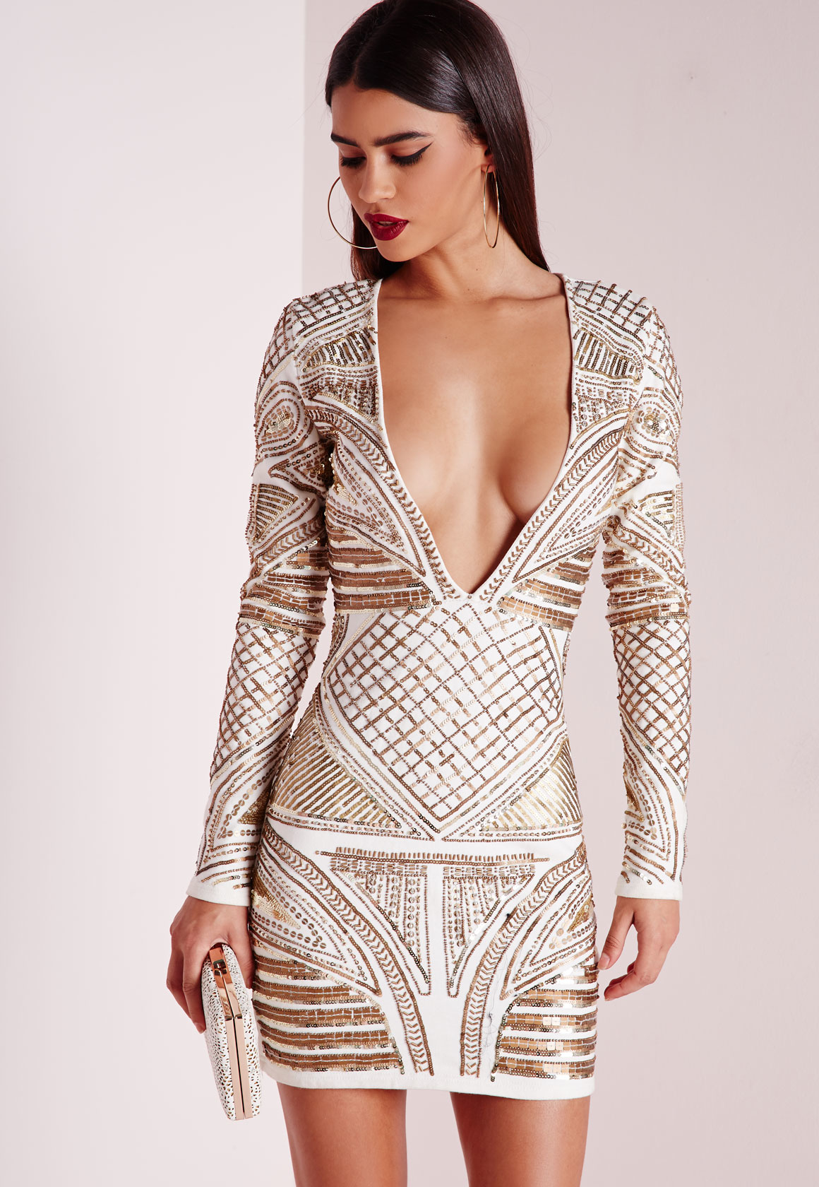 Missguided Premium Plunge Embellished Bodycon Dress Cream In White Lyst
