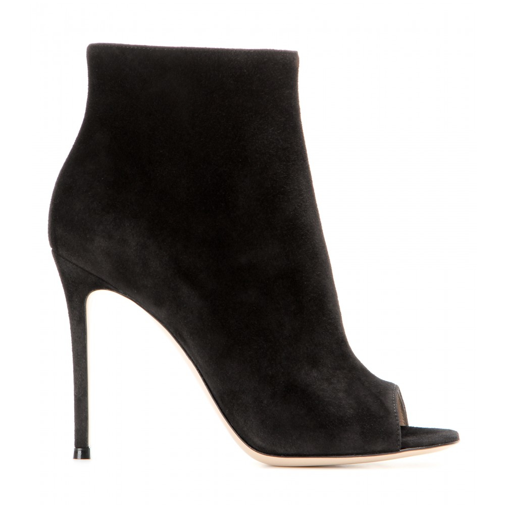 gianvito rossi suede peep toe ankle boots in black lyst. Black Bedroom Furniture Sets. Home Design Ideas