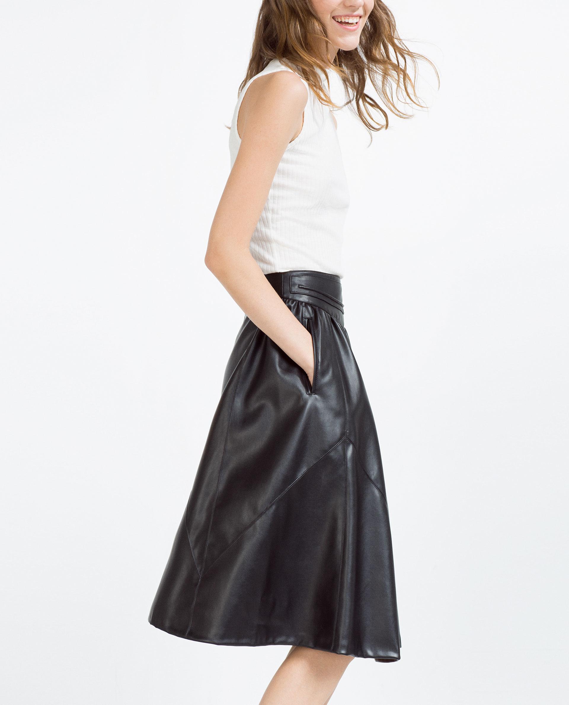 zara midi flounce skirt in black lyst