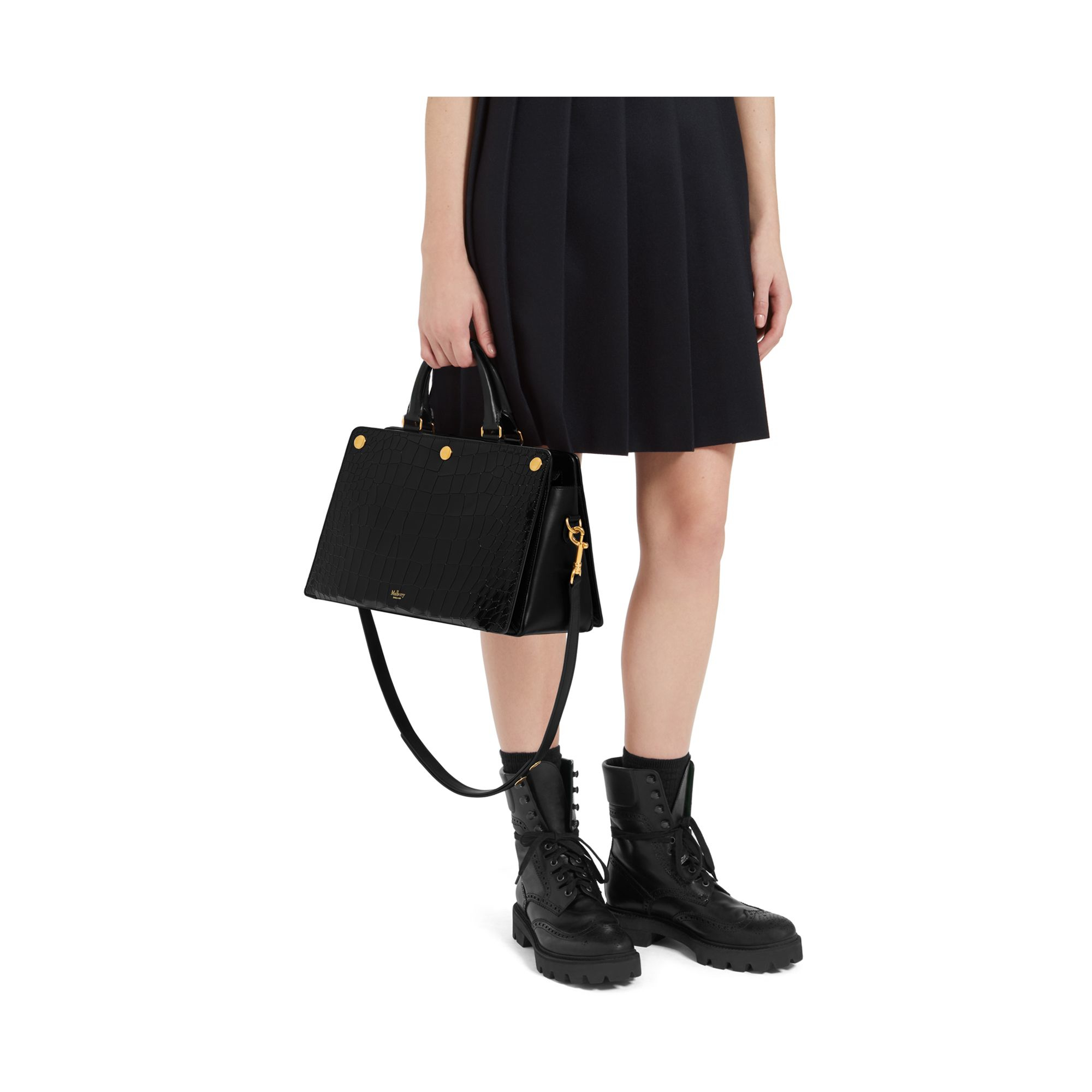 ad6710c3a2 ... bags c0e0f 9cc4b low cost mulberry chester croc embossed leather  satchel in black lyst 44d90 c4e3b ...