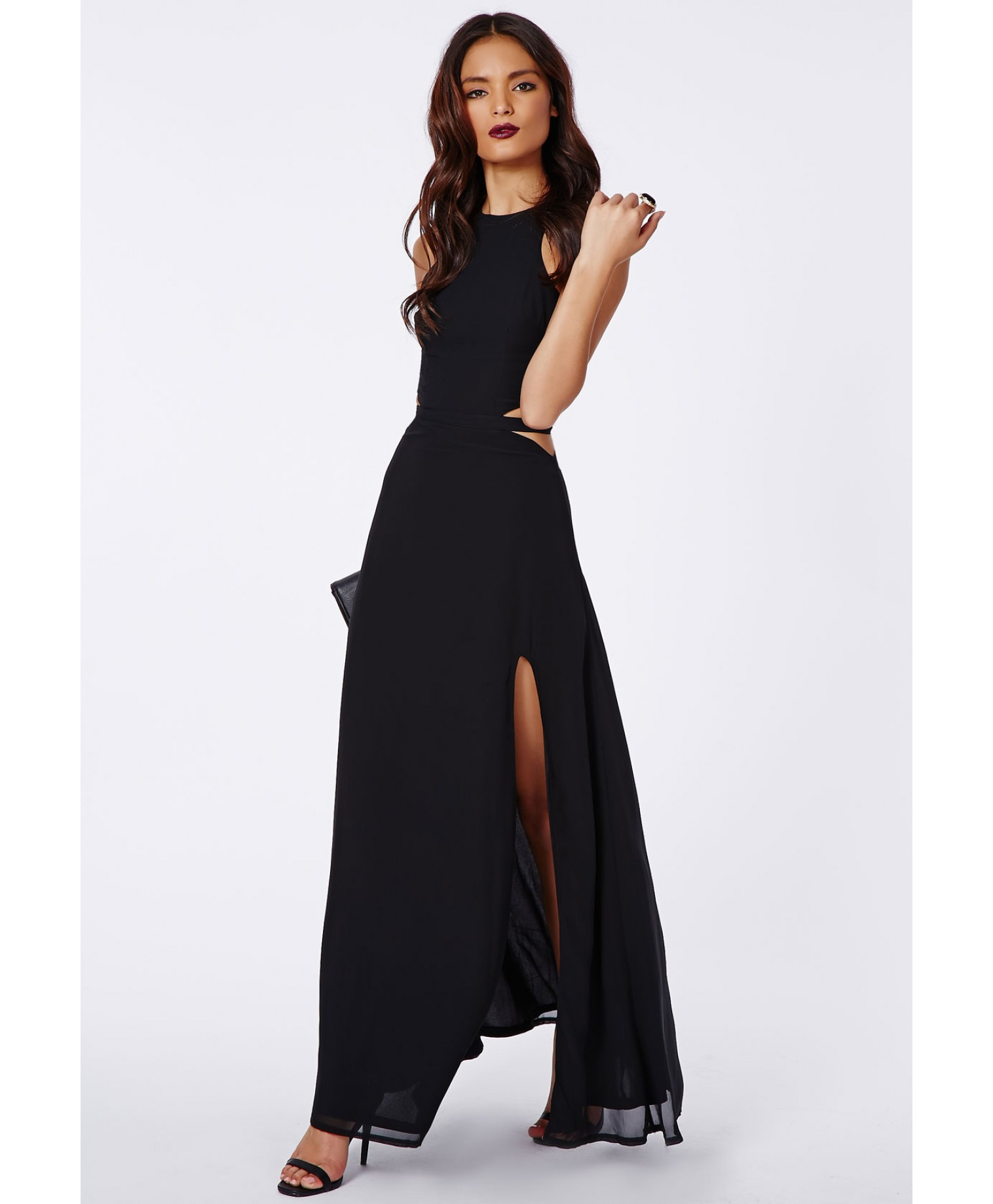 official photos big discount san francisco Anthea Cut Out Split Maxi Dress In Black