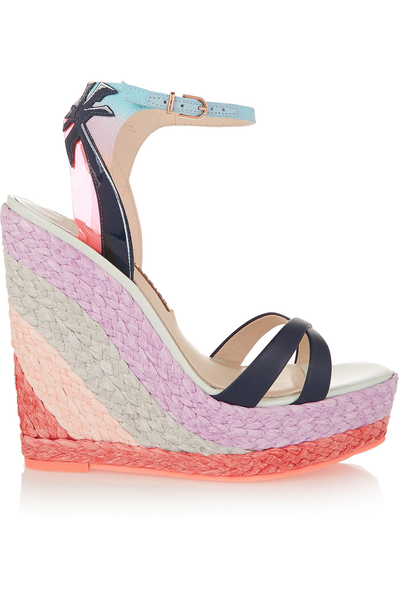 c1cd2216aad Lyst - Sophia Webster Lucita Malibu Leather Wedge Sandals in Pink
