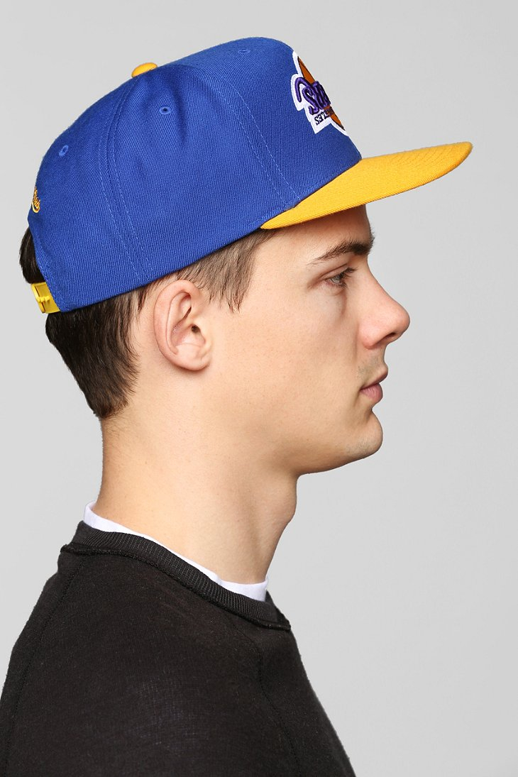 bb48355d185 Hall of Fame Blue X Mitchell Ness Lakers Upsidedown Snapback Hat for men