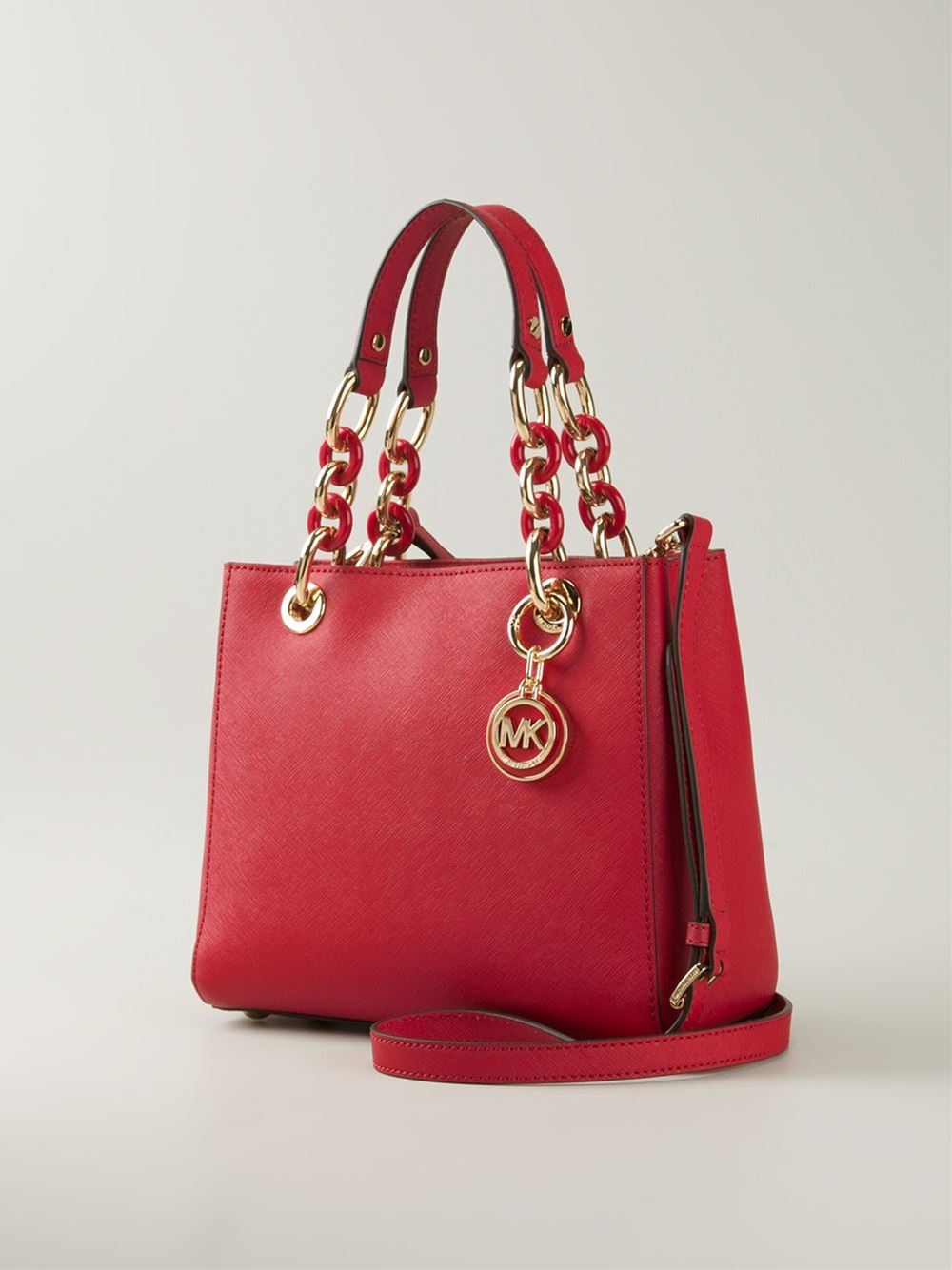 16dbac641829 ... discount michael michael kors cynthia leather bag in red lyst 61fb9  88d72
