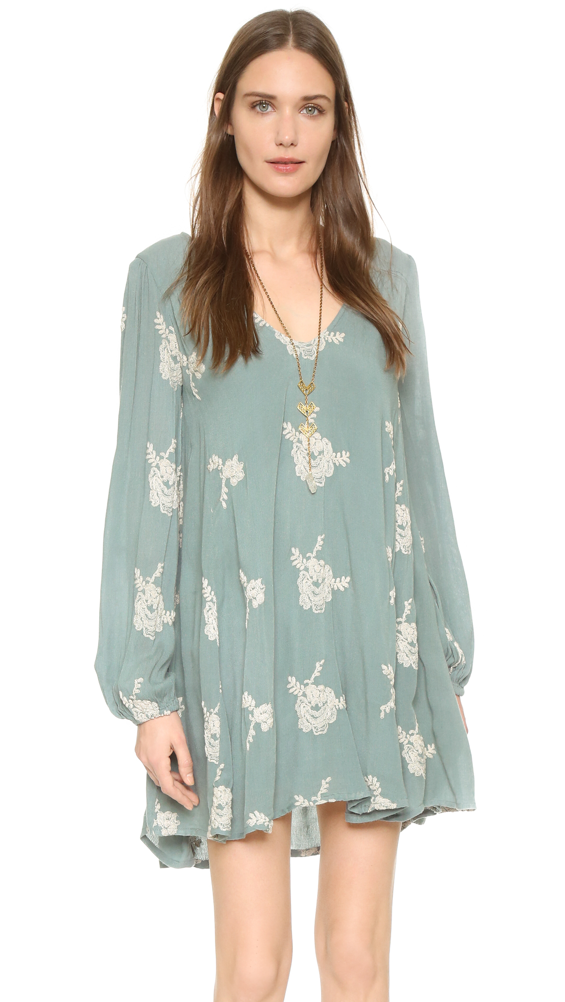 Lyst - Free People Emma Embroidered Dress in Green 373488b2d6