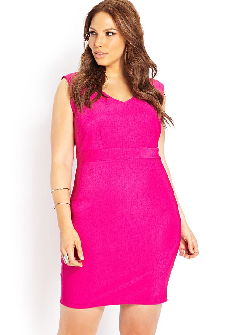 Hot Pink Plus Size Bodycon Dress