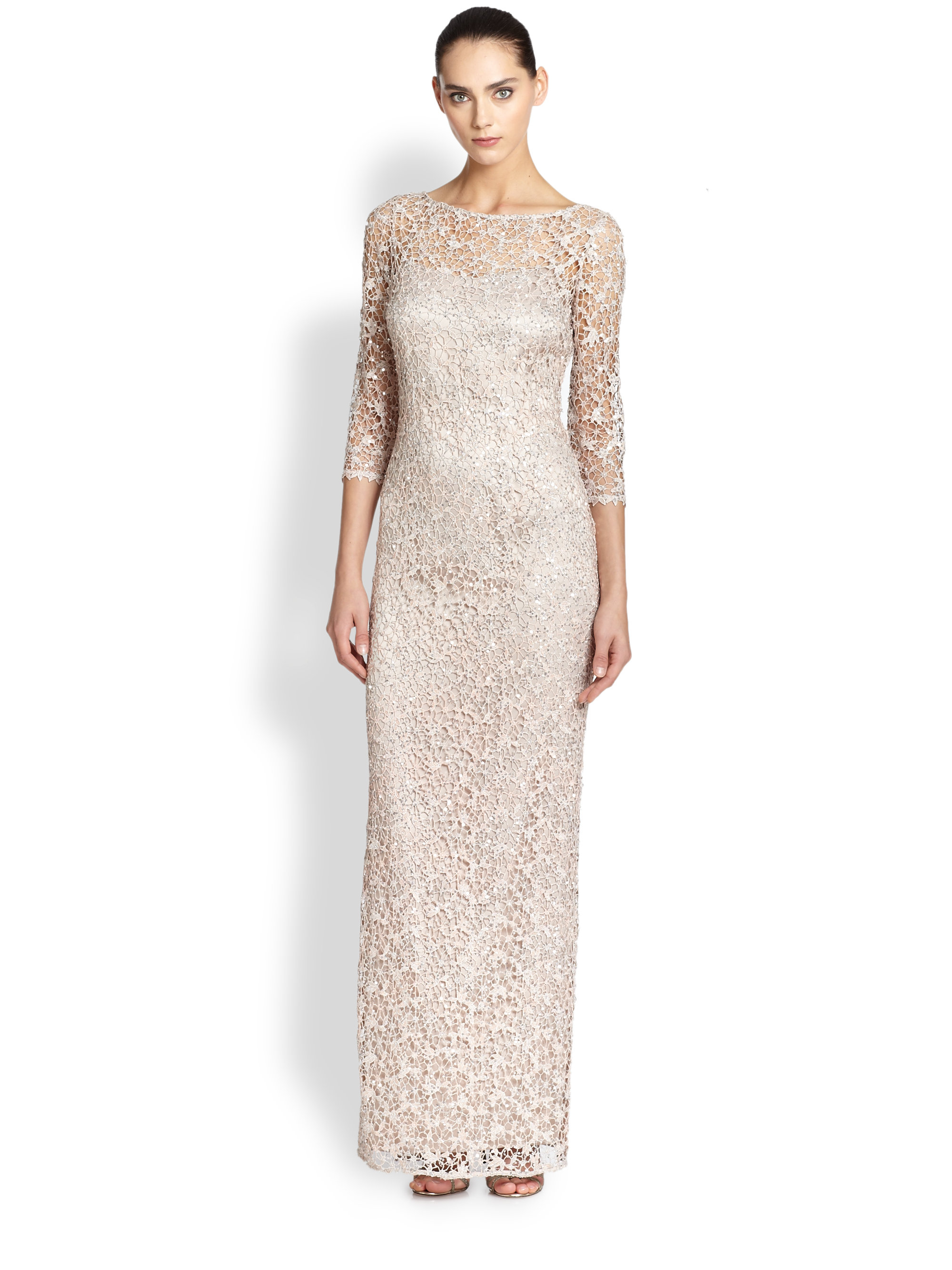 Lyst - Kay Unger Metallic Sequined Lace Gown in Metallic