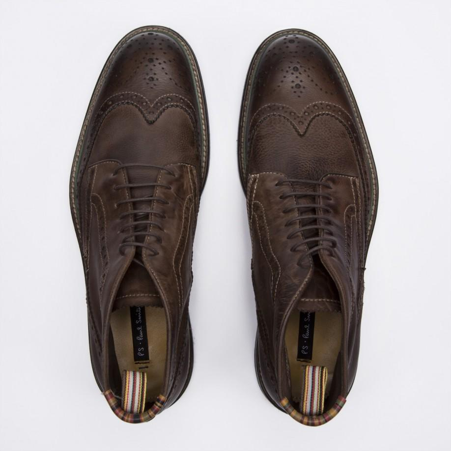 Lyst - Paul Smith Dip-Dyed Brown Leather Grayson Brogue Boots in ... 74d8c4f17