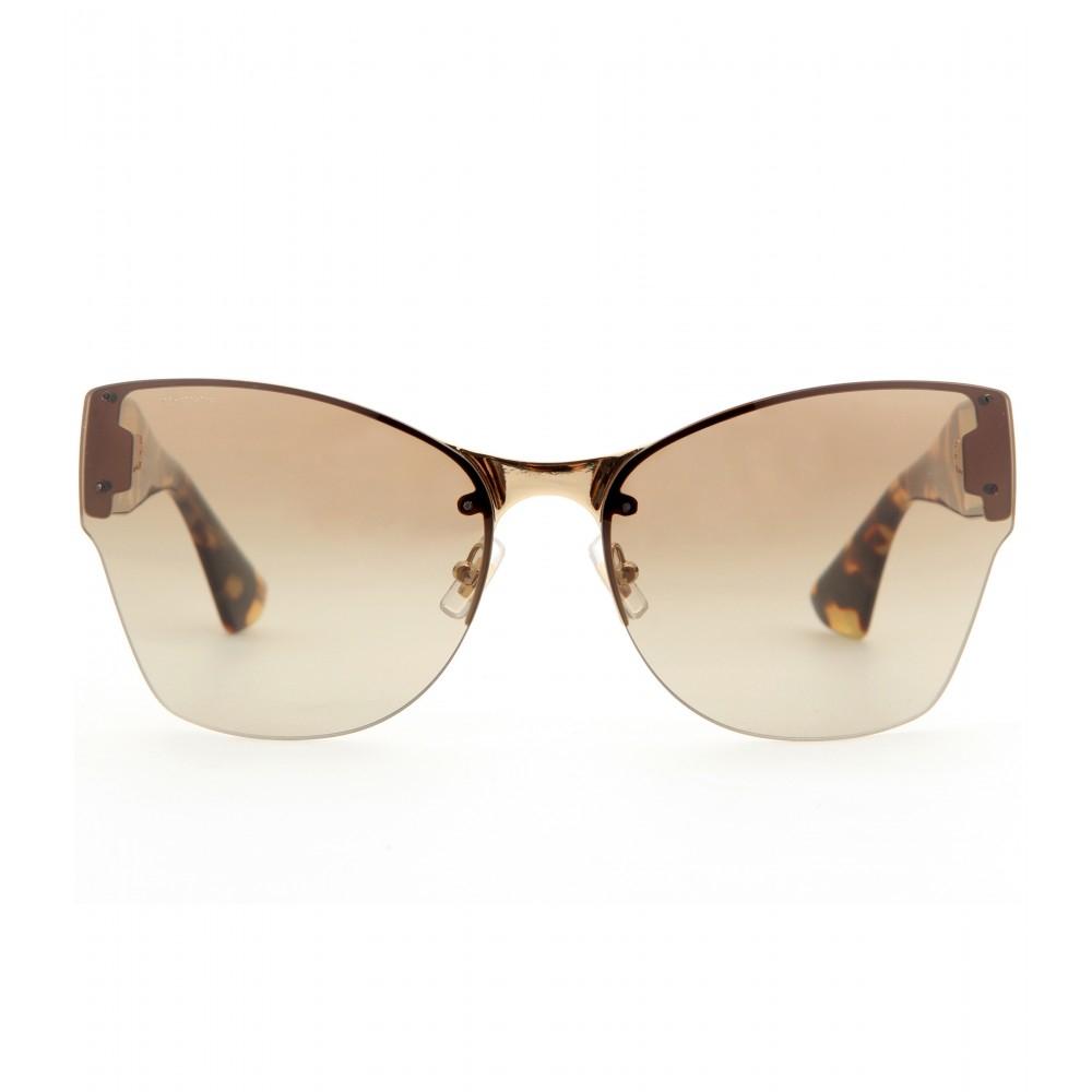 Miu Miu Tortoiseshell Angled Sunglasses in Black