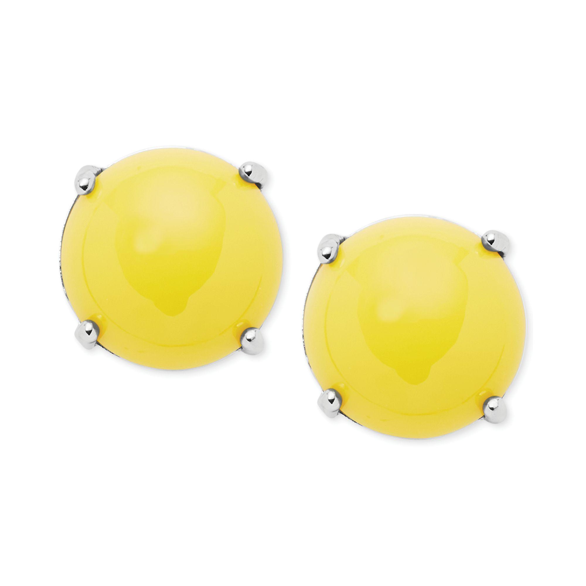 Silvertone Yellow Stone Stud Earrings