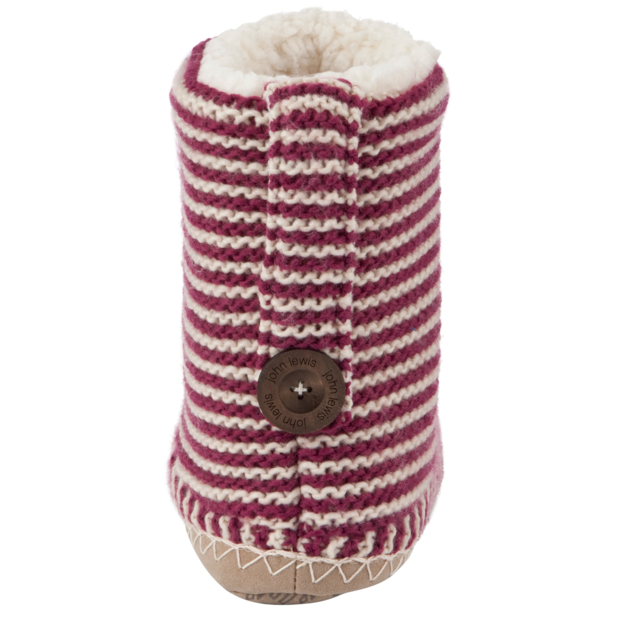 John Lewis Striped Slipper Boots in Pink