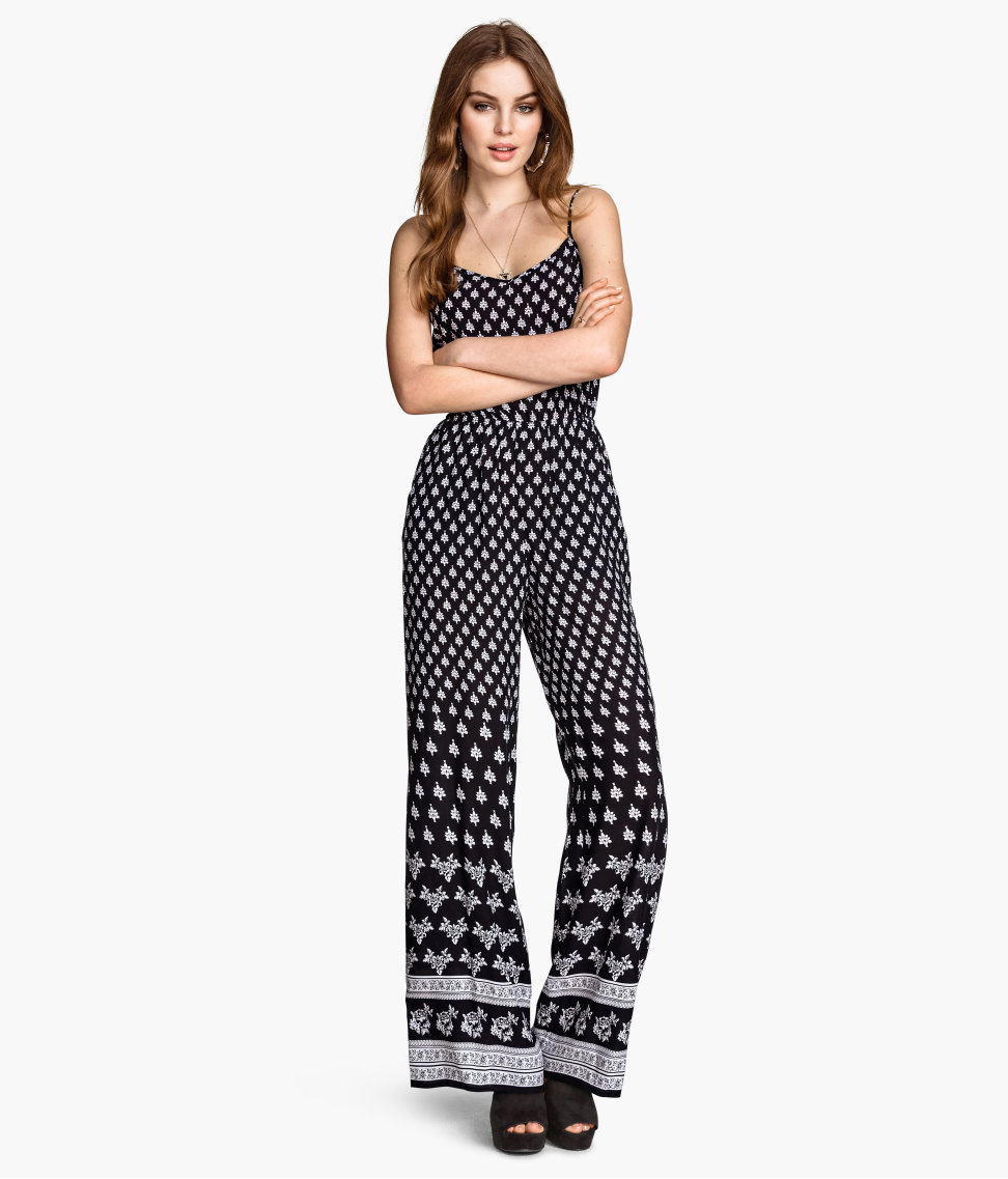 6acb0839a9c Hu0026m Patterned Jumpsuit In Black