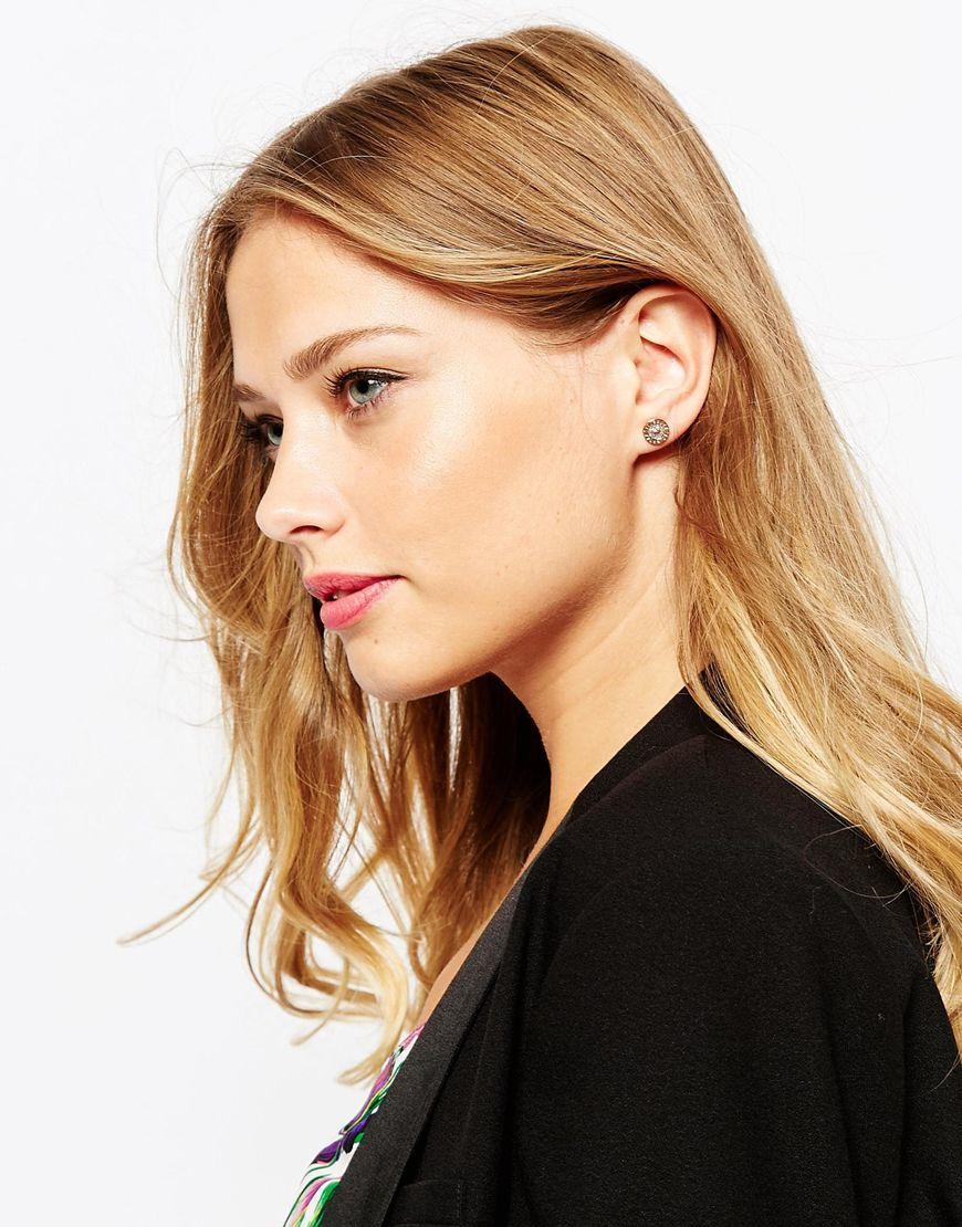 76839a0a9965d Lyst - Ted Baker Enamel Logo Button Stud Earrings in Pink