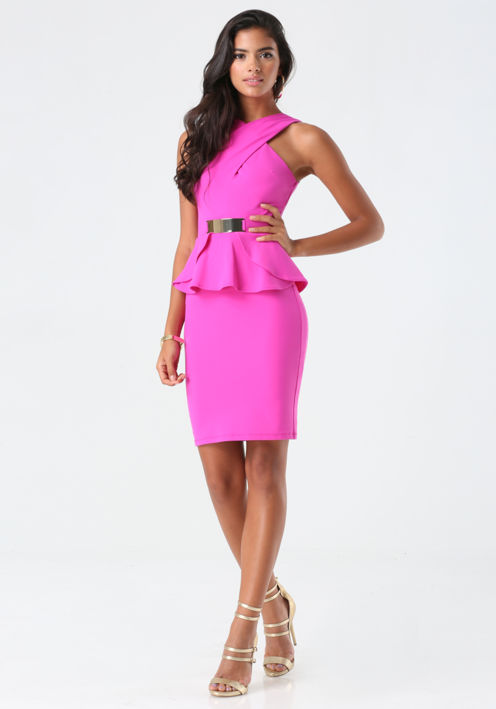 Bebe Crisscross Peplum Dress in Pink | Lyst
