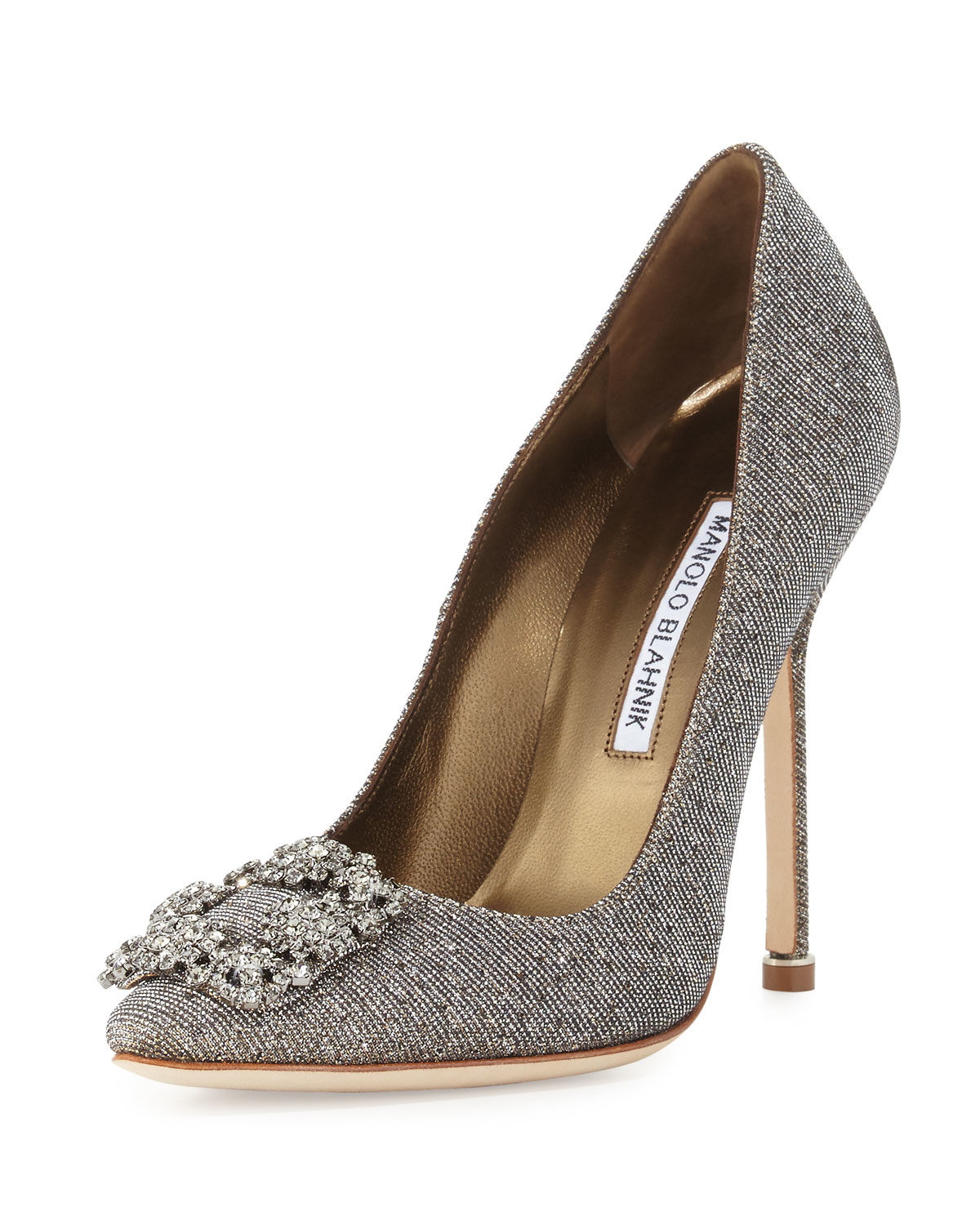 Manolo blahnik hangisi crystal buckle shimmery 105mm pump for Who is manolo blahnik