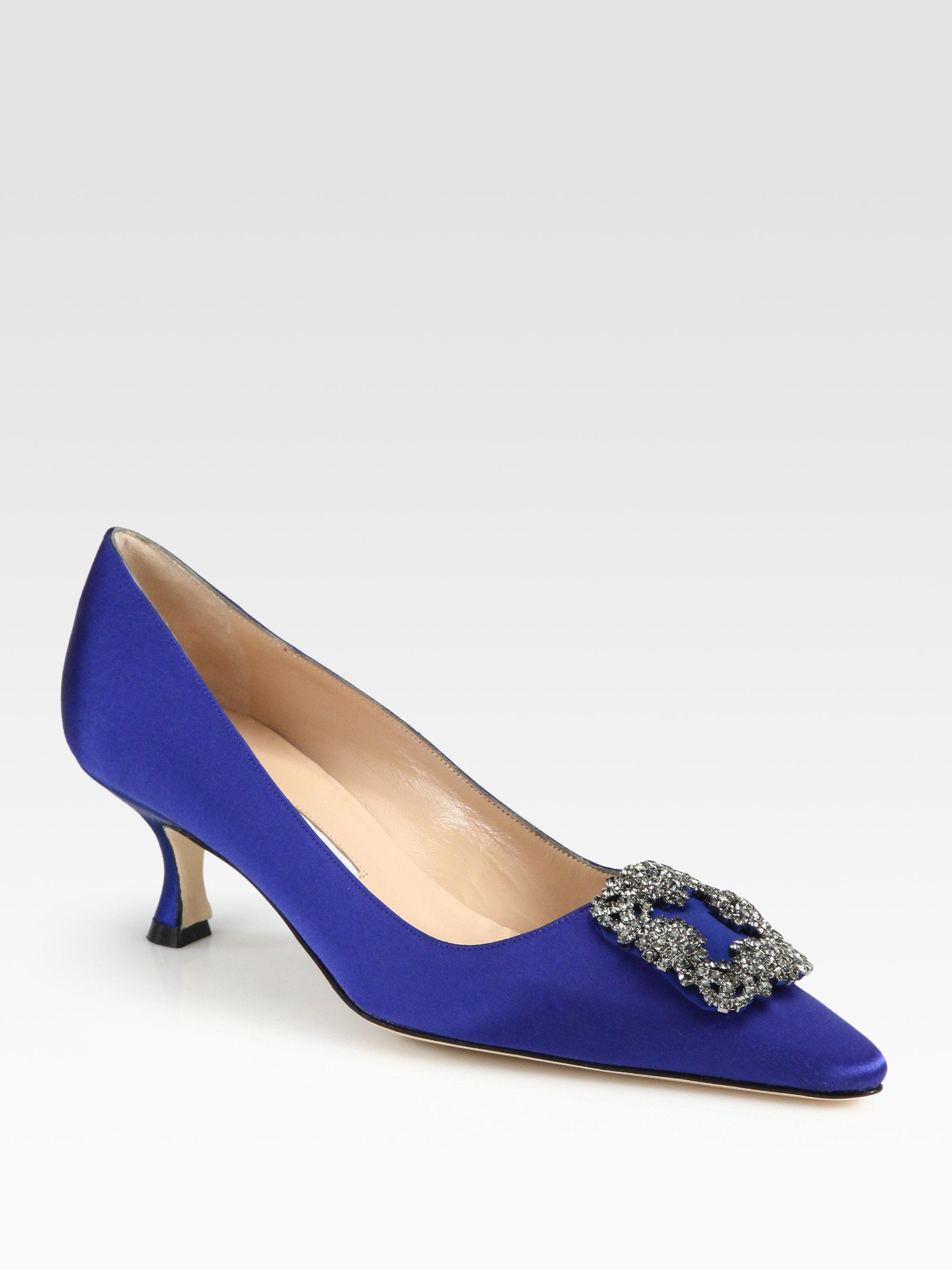 Manolo blahnik hangisi 50 satin pumps in blue lyst for Shoe designer manolo blahnik