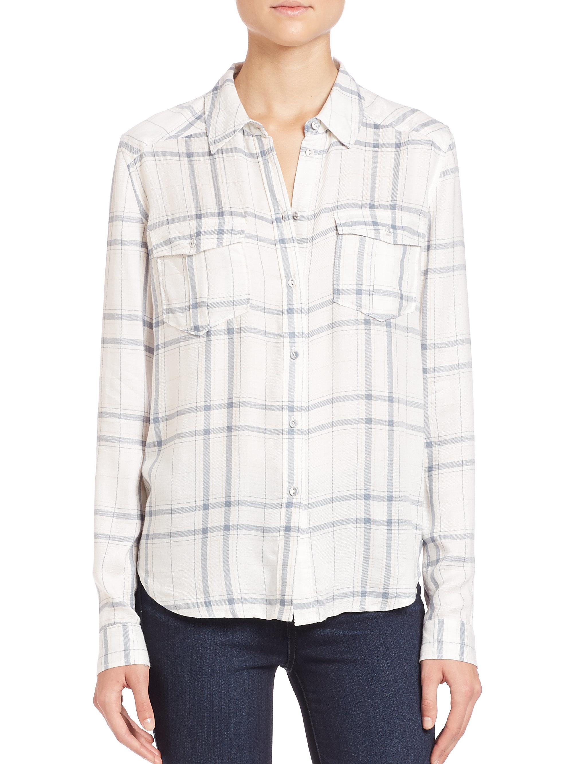 Paige mya plaid shirt in gray lyst for Grey plaid shirt womens