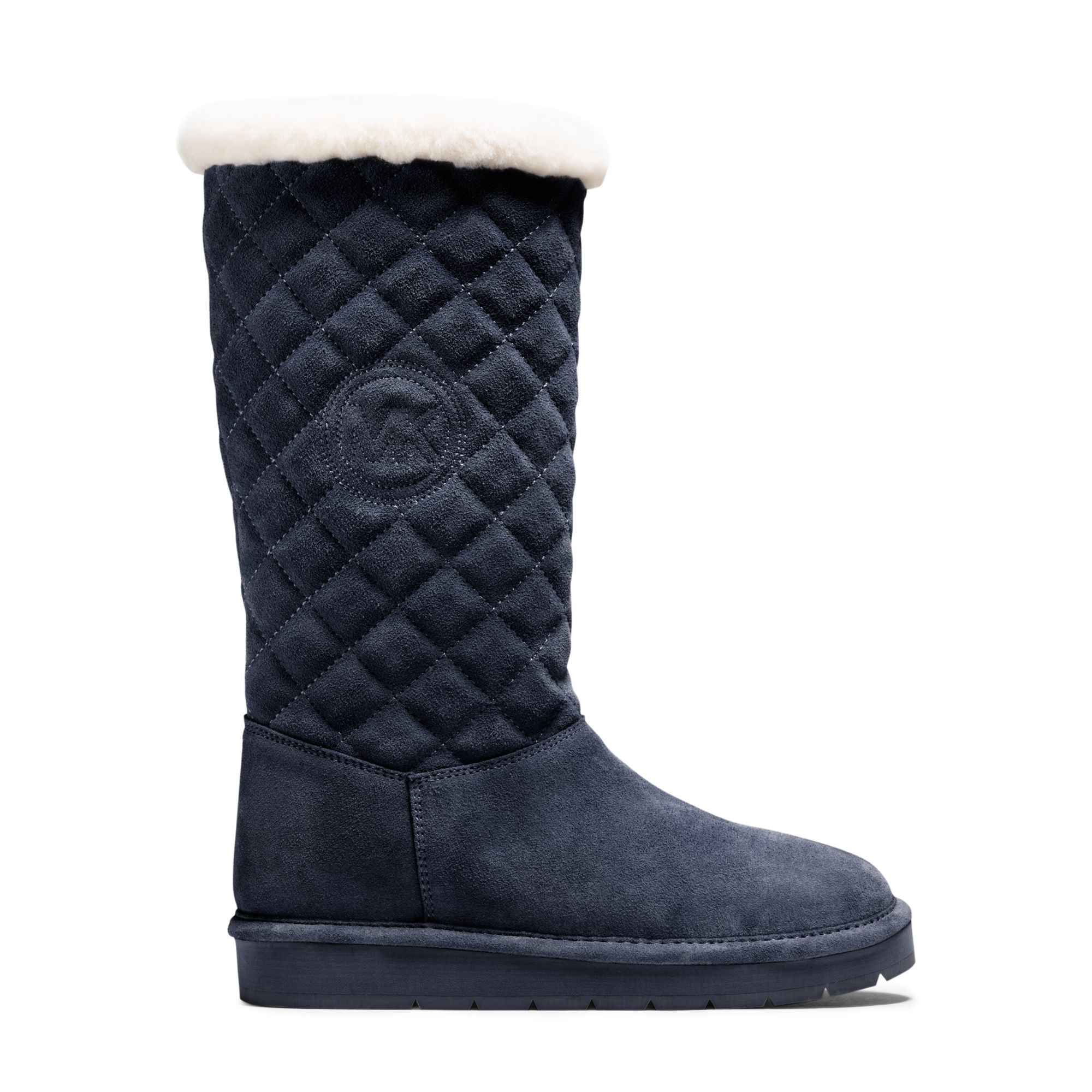 michael kors quilted suede boot in blue navy