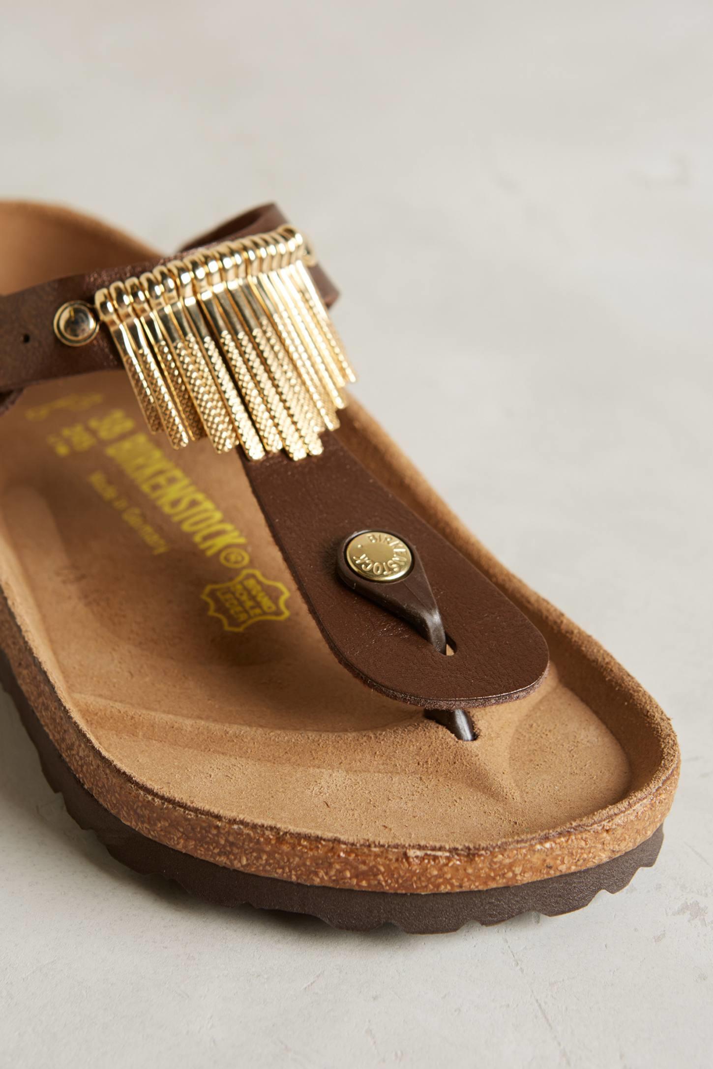 birkenstock gizeh fringe sandals in brown lyst. Black Bedroom Furniture Sets. Home Design Ideas