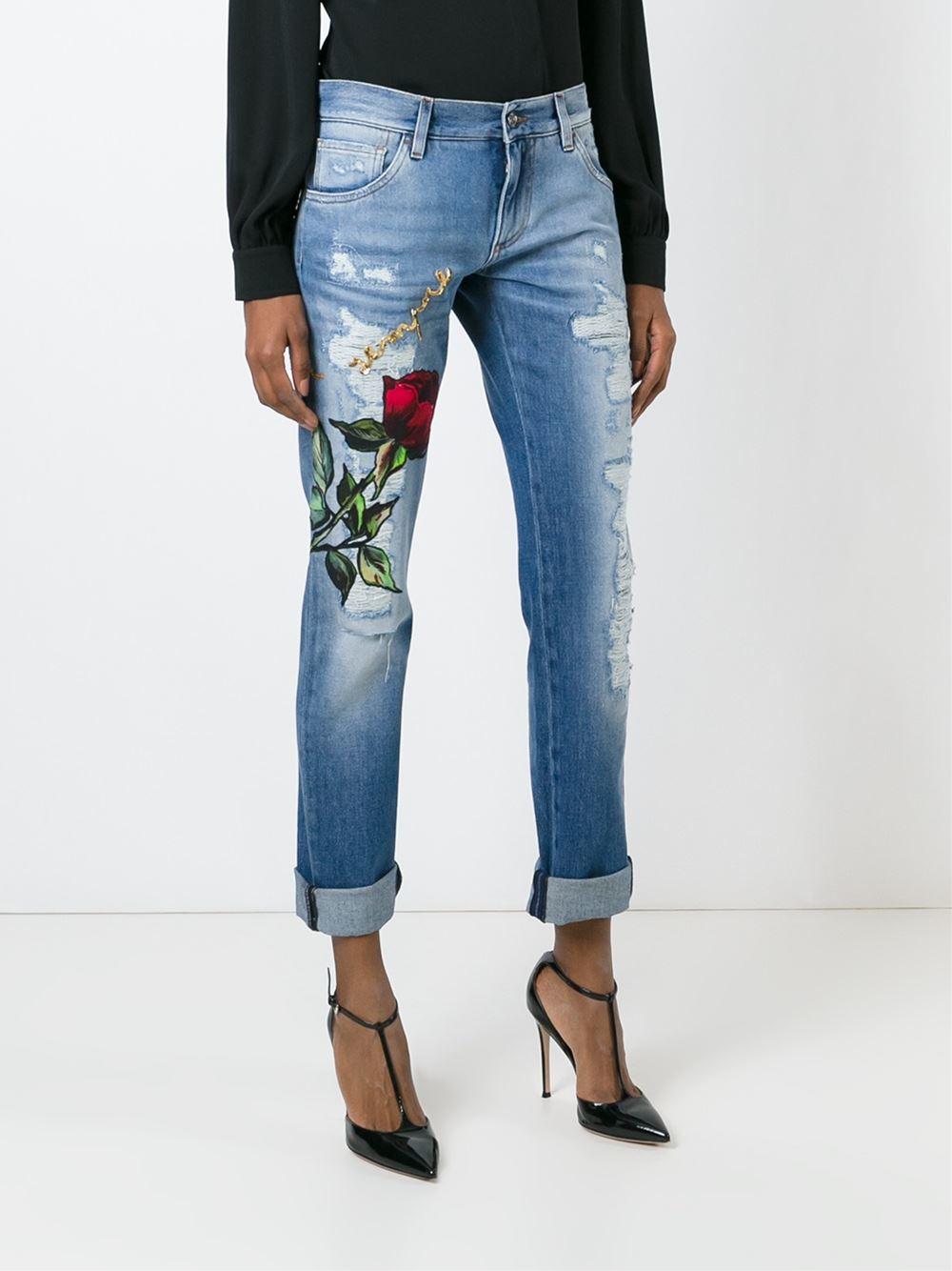 Dolce & gabbana Rose Patch Boyfriend Jeans in Blue | Lyst