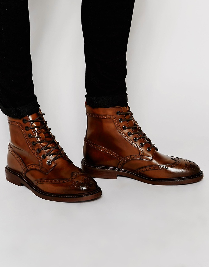ASOS DESIGN Lace Up Shoes In Brown Leather With Natural Sole cheap sale get to buy 3C397