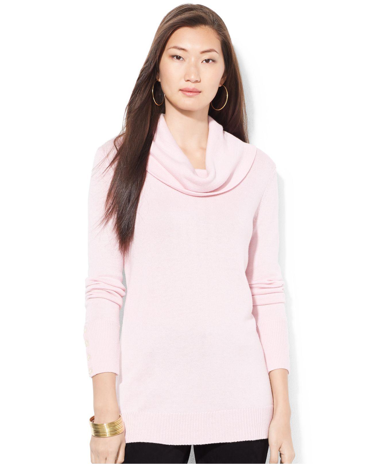 Lauren by ralph lauren Petite Cowl-Neck Sweater in Pink | Lyst