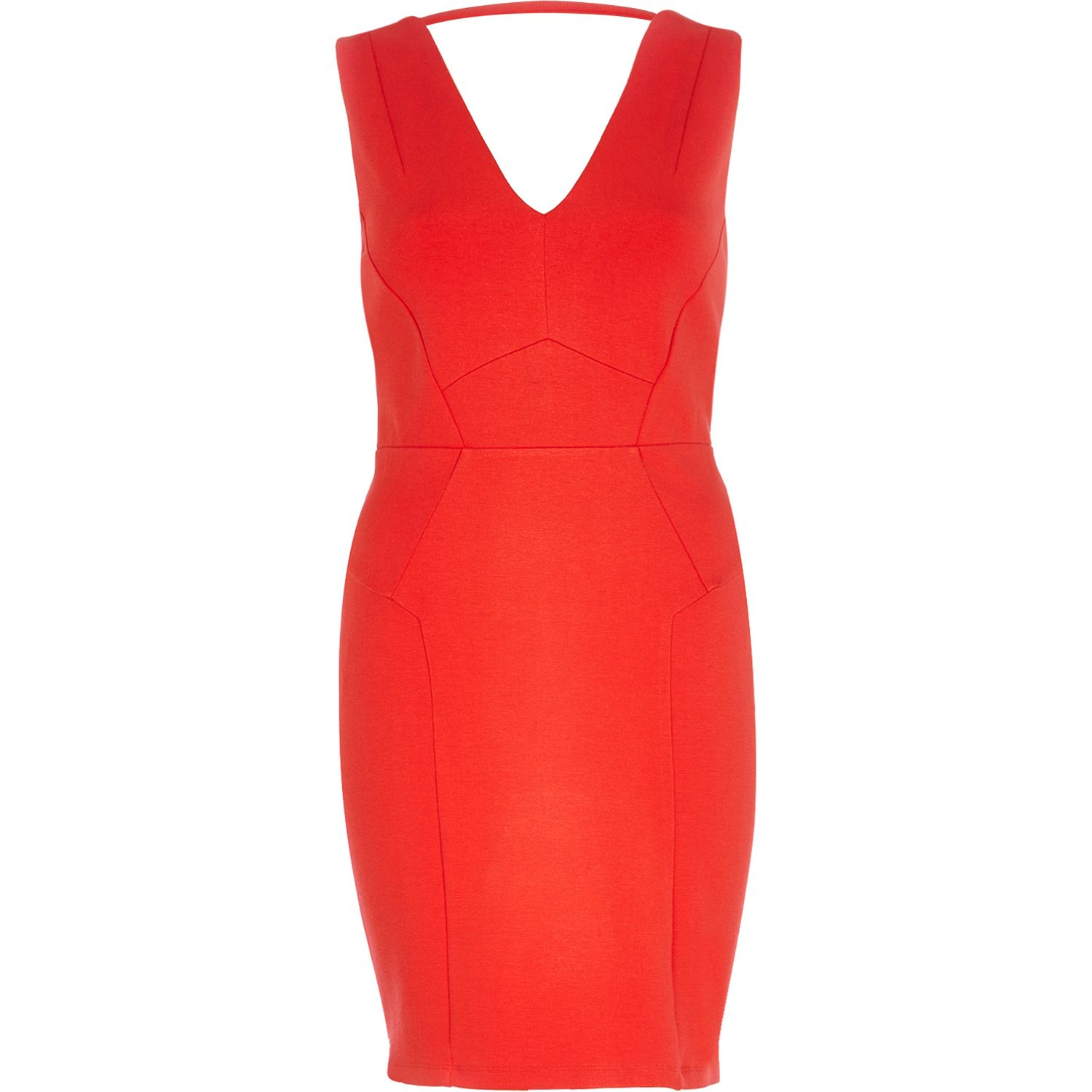 River island Bright Red Backless Bodycon Dress in Red | Lyst