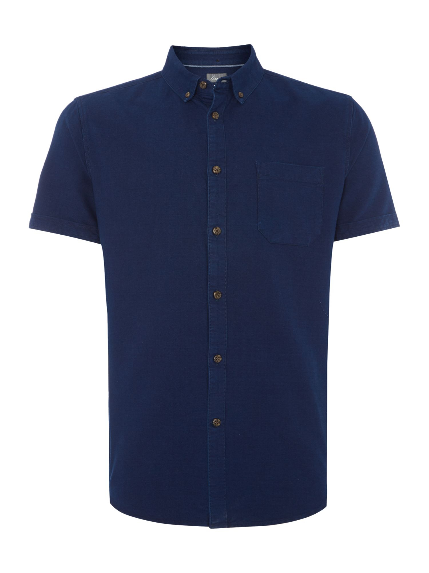 Linea Russon Washed Button Down Short Sleeve Shirt In Blue