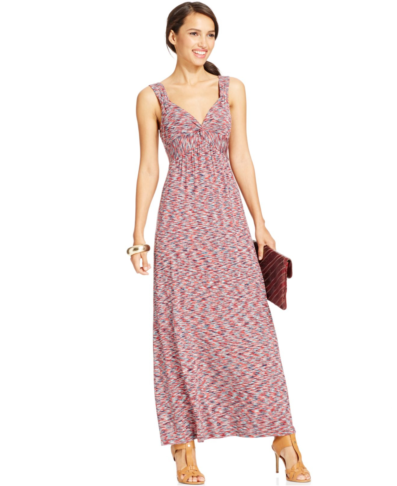 Spense Petite Space-Dye Sleeveless Maxi Dress in Red - Lyst