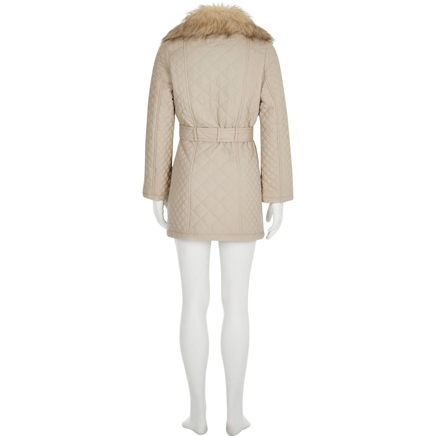 adc35de1399b River Island Girls Cream Quilted Belted Jacket in Natural - Lyst