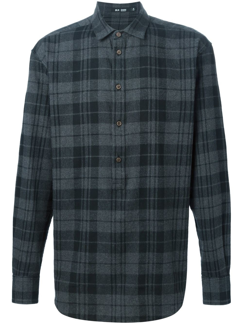 Blk dnm plaid shirt in gray for men grey lyst for Grey plaid shirt womens