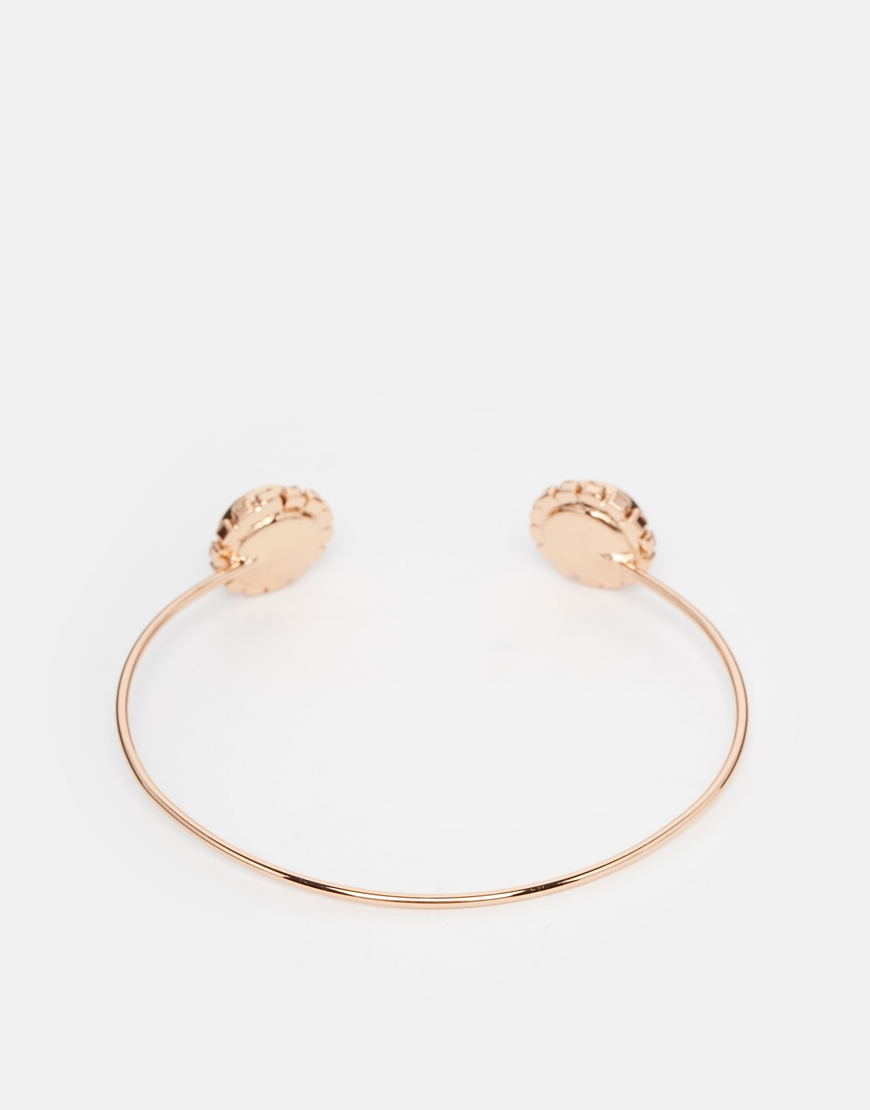 faaef9729 Lyst - Ted Baker Crystal Double Daisy Ultra Fine Cuff Bracelet in Pink