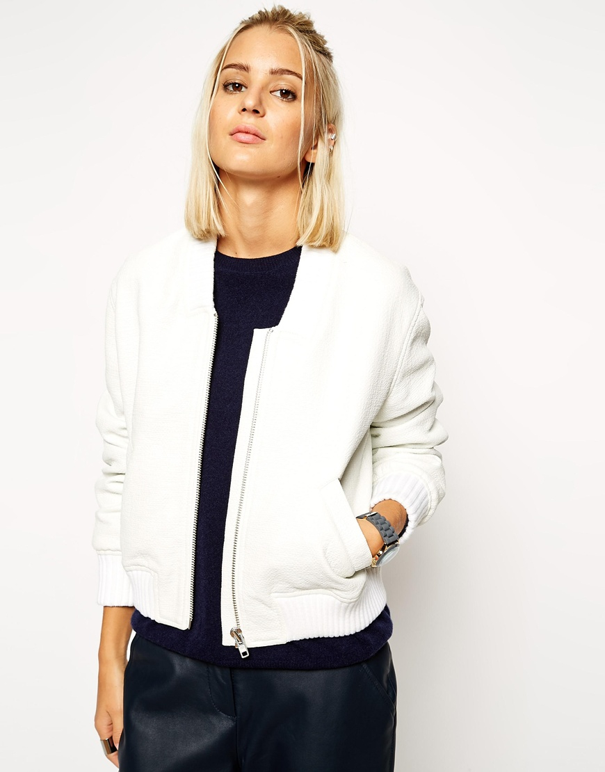 Asos Textured Bomber Jacket in White | Lyst