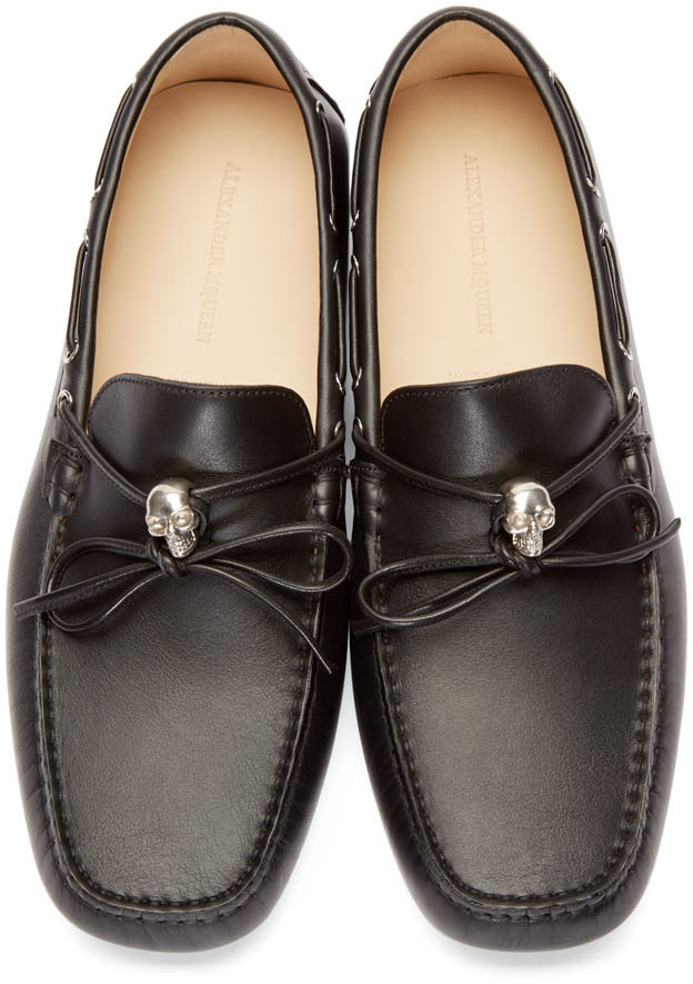 e12688695b748 Alexander McQueen Black Leather Skull Driver Loafers in Black for ...